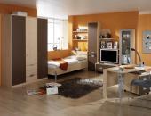 COLOR Singlezimmer mit Schrank 3 trg. Ahorn Schoko