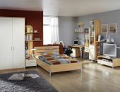 COLOR Singlezimmer mit Wohnwand Buche Bügelgriff Weiß